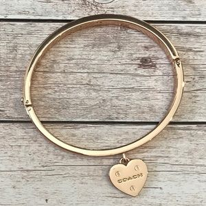 Coach RARE Rose Gold Hinged Bangle Riveted Heart
